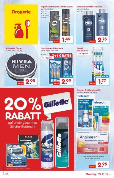 20% Rabatt auf gesamtes Gillette sortiment bei Netto