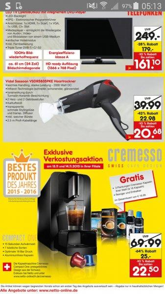 Netto Cremesso Kapselmaschine für 22,50€