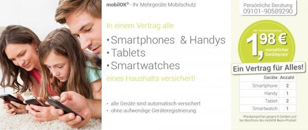 Handy, iPad, Smartwatch Gefahren Versicherung ab 11,90€ (lohnt ab 2-3 Geräten - OHNE Geräteregistrierung :-))