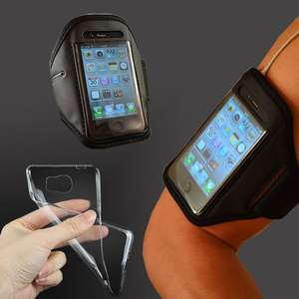 Sport Armband Handy Tasche + Silikon Handyhülle + Folie