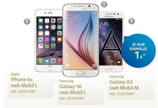 iPhone 6s 16GB oder Samsung Galaxy S6 32GB günstig im D2 Netz
