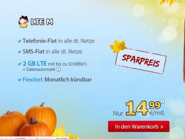 DeutschlandSIM  Vertrag mit 2GB LTE und ALLNET und SMS Flat für 14,99€/Monat