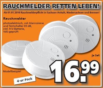 [Globus-Baumarkt] Rauchmelder VDS-geprüft, 4 Stück incl. Batterien für 16,99 Euro.