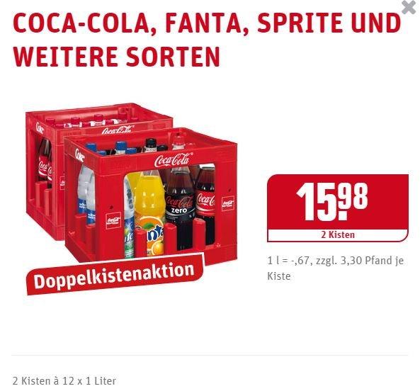 [REWE Dortmund] Doppelkistenaktion Cola Fanta Sprite usw.