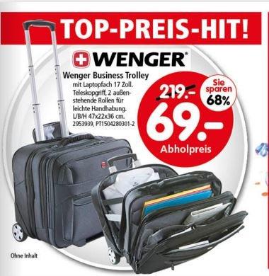 """[SEGMÜLLER nur offline] Wenger Businesstrolley mit 17"""" Notebookfach für 69€ (Idealo 139,99€)"""