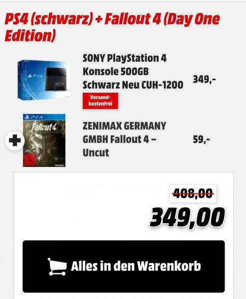Playstation 4 500gb CUH-1200 mit Fallout 4 für 349 €