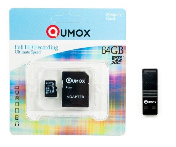 (Amazon.de-Prime) QUMOX 64GB Micro SD Klasse 10 mit OTG und USB Karteleser für 18,92€ oder 32GB mit Adapter für 10,45€