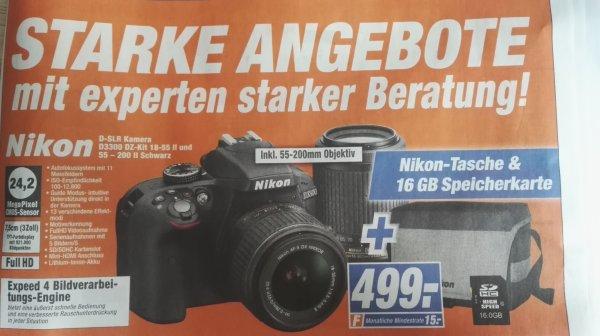 [Expert] Nikon D3300 + 18-55 + 55-200 + Tasche + 16GB für 499€