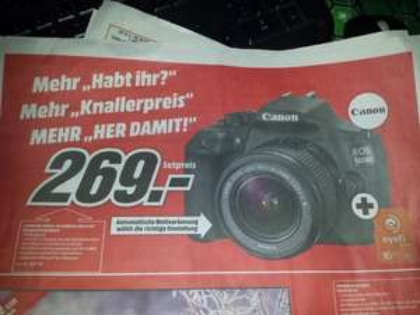 (MediaMarkt Erfurt) Canon EOS 1200D mit 18-55mm DC III + 16GB SD karte für 269€