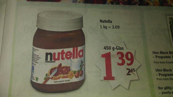 Globus (regional) Nutella 450gr. bzw 500gr. für 1,39 Euro