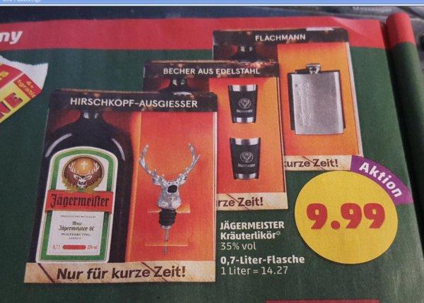 Penny ab 16.11.: Jägermeister + Zugabe (Flachmann, Hirschkopf-Ausgiesser oder 2 Edelstahl-Becher) für 9,99€
