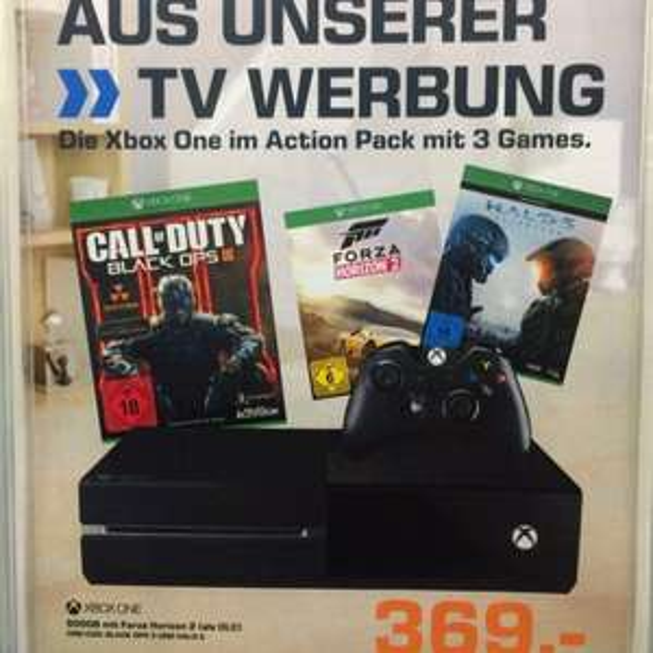 Xbox One mit 3 Spielen (Halo 5, COD BlackOps 3, Forza Horizon 2) für 369€ (Saturn Reutlingen)