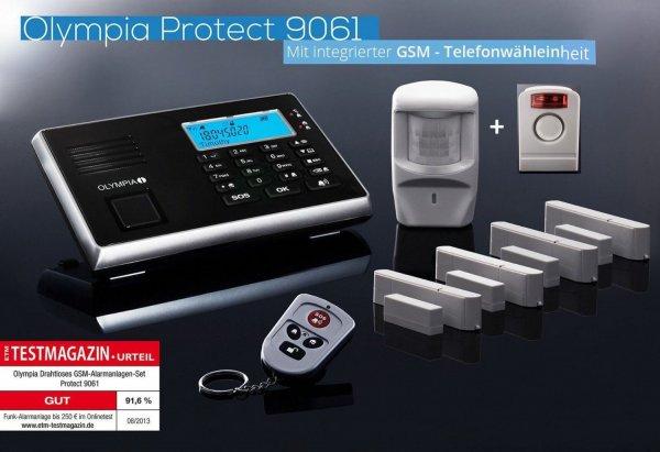 [Plus] Olympia Protect 9061S GSM Funk Alarmanlage Super-Set mit Außensirene, Bewegungsmelder, Tür Fenster/Kontakten und Fernbedienung mit GSM Telefonwähleinheit