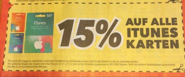 [Medimax] 15% auf alle iTunes Karten