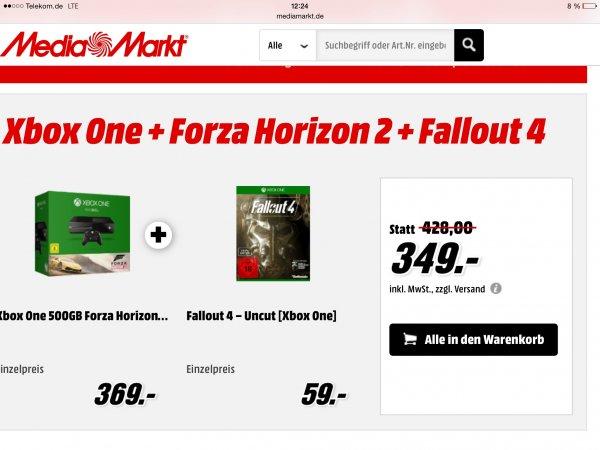 Xbox One 500gb + Forza Horizon 2 + Fallout 4 (+ Fallout 3 als Download) für 349€ @ mediamarkt.de