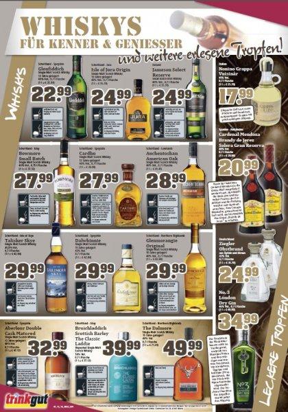 [Trinkgut] div. Whisky Angebote - Glenfiddich 22,99€, Cardhu 27,99€, Laphroaig 27,99€, Jura 24,99€ / Dos Ron Rum 16 Jahre 24,99€, etc