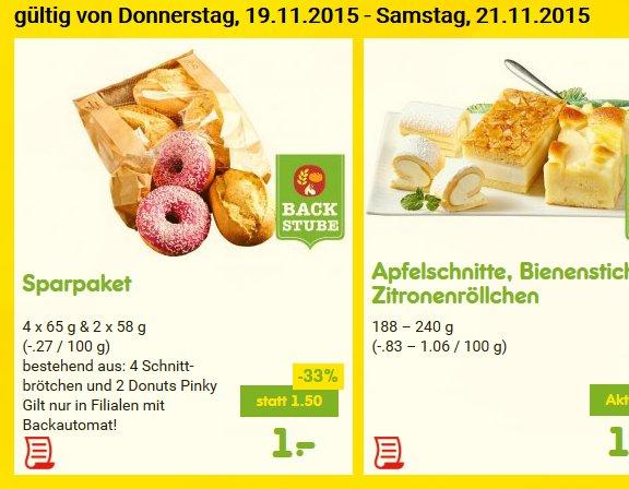 [Netto ohne Hund | Netto MD] Sparpaket (4 Brötchen und 2 Donuts Pinky) für 1 Euro