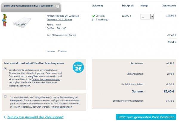 Matratze Julius Zöllner Dr. Lübbe Air Premium 70 x 140 cm mytoys 92,46€ dazu möglich 4% qipu (87,95€)