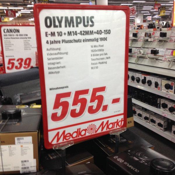 Lokal Berlin Media Markt Olympus EM-10 14-42+40-150 für 555 mit Gutschein 50€