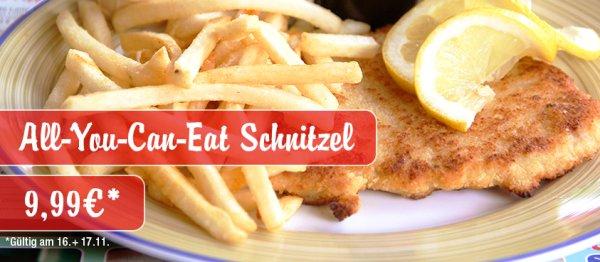 Schnitzel All You Can Eat bei Miss Pepper American Restaurants für 9,99€ am 16. & 17.11.2015