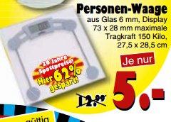 [JAWOLL] Glas-Personenwaage für 5,00€
