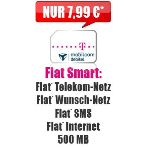 Flat Smart Aktion 7,99 mtl. 500MB Internet Flat + SMS Flat +  Telekom Netz Flat + Wunschnetz Flat