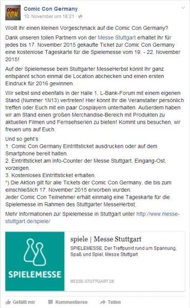 [NUR NOCH HEUTE] Kostenloser Eintritt zur Spielemesse in Stuttgart