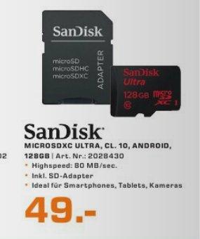 [Saturn] Sandisk Ultra microSDXC UHS-I Speicherkarte 128 GB neue Version mit 80MB/s ab 44,-€ *Update* Amazon zieht mit. Dort jetzt 49,-€ VSK Frei