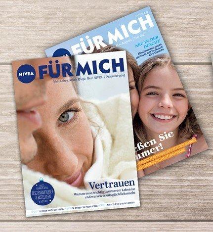 NIVEA FÜR MICH Magazin mit einigen Produktproben, Coupons etc.