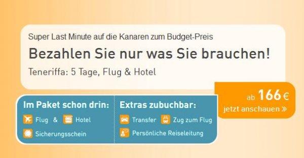 (LTUR) Super Last Minute nach Teneriffa ab Hannover: 5 Tage, Flug und Hotel für 2 Personen (20.11.2015)