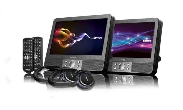 Lenco DVP-938 X2 - Zwei tragbare 9 Zoll DVD-Player mit USB und SD