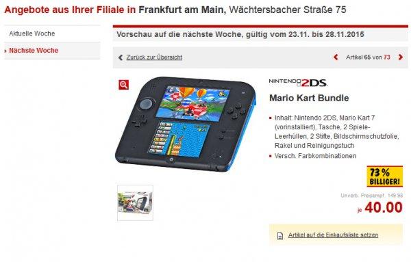 [Kaufland, Frankfurt am Main] - Nintendo 2DS (Mario Kart Bundle) für Euro 40,- / 73 % billiger