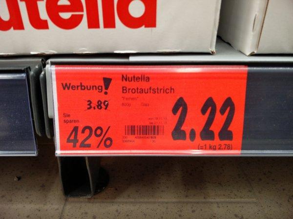 [Kaufland, Frankfurt am Main] Nutella 800g für 2.22€ (2.78€ kg!)
