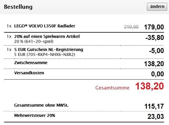 Lego Technic Volvo L350F 42030 um € 138,20 Versandkostenfrei ! , @interspar.at. 20% +NL Gutschein auf Spielwaren - auch auf Lego Star Wars