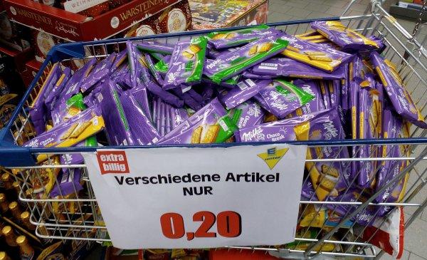 [Lokal Berlin Tempelhof] Milka Choco Break für 20ct + Kopfschmerz-Suff für 2 Euro im E-Center am Hafen