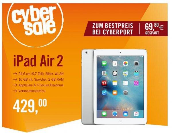 CyberSale / Cyberport: Apple iPad Air 2 WiFi 16GB Silber MGLW2FD/A + AppleCare & F-Secure Freedome (-56,77€, bzw. Zusatz für Umme)