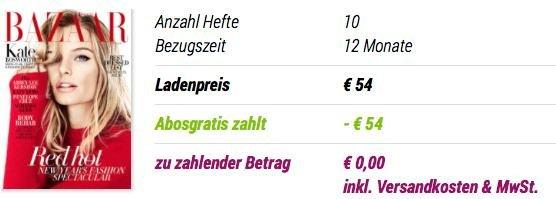 [Abogratis] Bazaar Zeitschrift /Jahresabo / 0,00 inkl. Versand