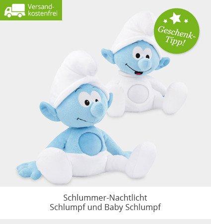 limango: Die SCHLÜMPFE Schlummer-Nachtlicht Schlumpf Plüsch Kuscheltier mit Musik (Schlaflieder) waschbar von ANSMANN | kostenfreier Versand