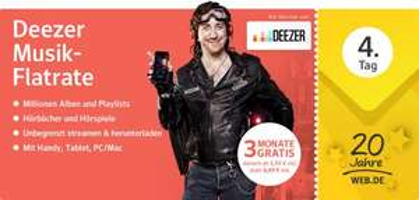 [20 Jahre WEB.DE]:  Deezer Premium+ 3 Monate gratis, danach ab 5,99 monatlich