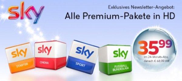 Sky Komplett inkl HD und Sky Go nur 35,99€ monatlich