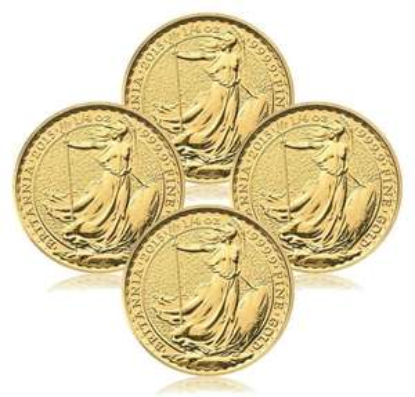 4x 1/4 Unze Goldmünze Britannia 999.9 zum SPOTPREIS (zusätzlich -7,5% Payback od 75,98€)