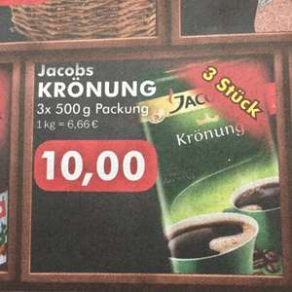 10,00€ Jacobs Krönung 3 x 500g [Edeka Hundrieser Velbert] 1 Jahr Geburtstags Angebote ab 23.11