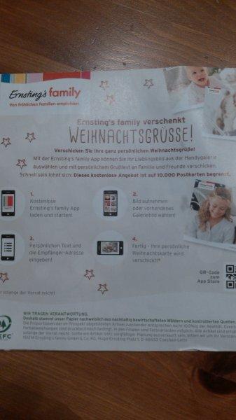 10.000 Postkarten mit Ernstings Family App