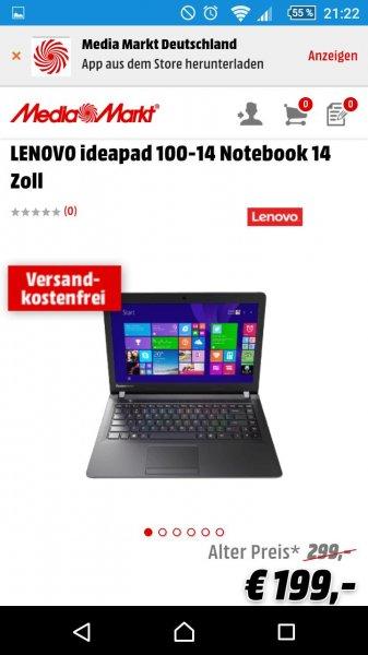 """LENOVO ideapad 100-14 für 199€ inklusive Windows 10 - 14"""" Notebook @MediaMarkt"""