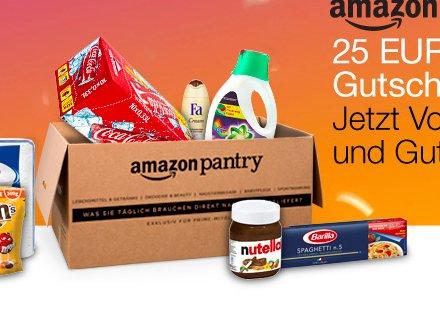 Amazon Pantry Box für 57,13 € kaufen und 25 € Amazon Gutschein erhalten, nur Prime