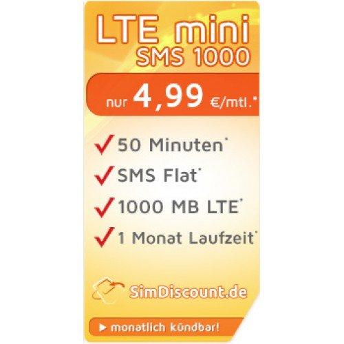 Handyvertrag Sim Karte 50 Freiminuten + SMS Flat + 1GB Internet Flat LTE O2 Netz