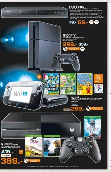 (Lokal Nürnberg) Xbox One 500GB +FH2, Halo 5+ Star Wars Battelfront für 369€; PS4 1TB 299€.