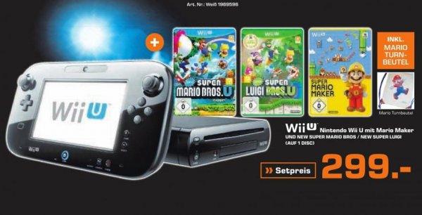 [Saturn Black Week] Nintendo Wii U mit Mario Maker + New Super Mario Bros + New Super Luigi inklusive Mario Turnbeutel für 299,-€
