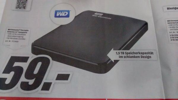 """[MediaMarkt] WD Elements 1,5TB 2,5"""" ext. Festplatte für 59€ [bundesweit]"""