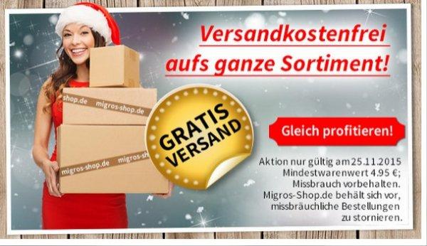 Migros: heute alles versandkostenfrei + 50er Branches mit 50% Rabatt = 10,50€